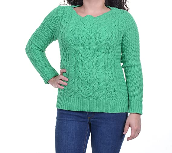Lauren Jeans Co New Green Boat-Neck Cable-Knit Sweater XS $99.5 DBFL