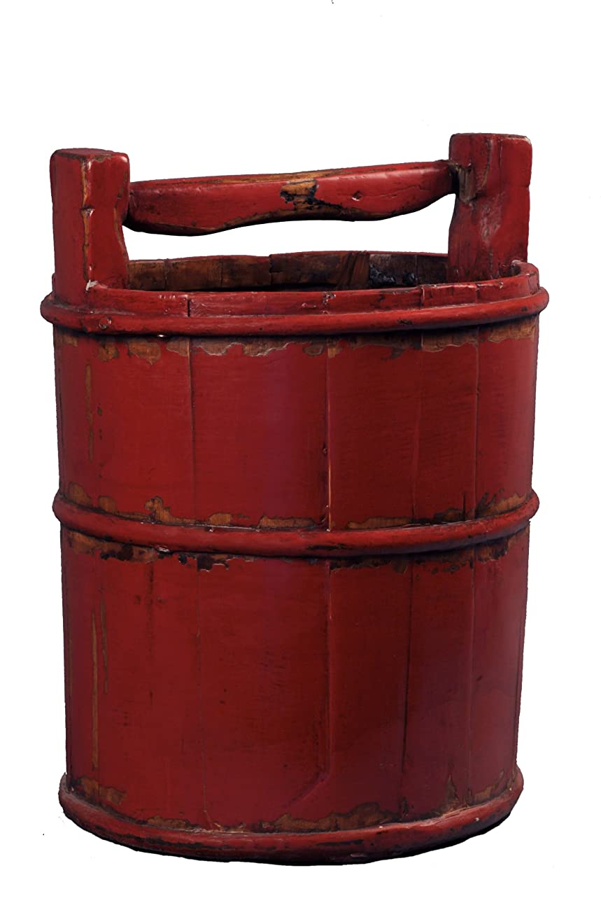 Antique Revival Wooden Soy Sauce Bucket, Red 0