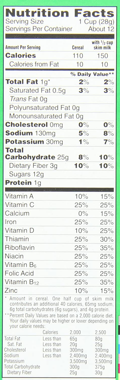 Apple Jacks Cereal Nutrition Facts Amazon.com Apple Jacks Cereal