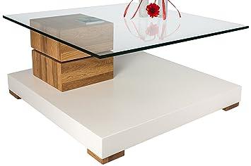 HL Design 01-12-609.1 Couchtisch Amadeo , Tischplatte Sicherheitsglas 12 mm , Rollen verdeckt, Säule Wildeiche massiv, geölt, bodenplatte 80 mm matt weiß lackiert, drehbar, 800 x 800 x 380 cm
