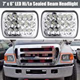LED Headlights 6000K for Ford Super Duty Trucks F600 F650 F700 F750 7x6 5x7 High and Low Sealed Beam Square Rectangle Headlamp Replacement Kit Bulb H4/HB2/9003 Plug and Play (Tamaño: 7x6 inch 2pcs)
