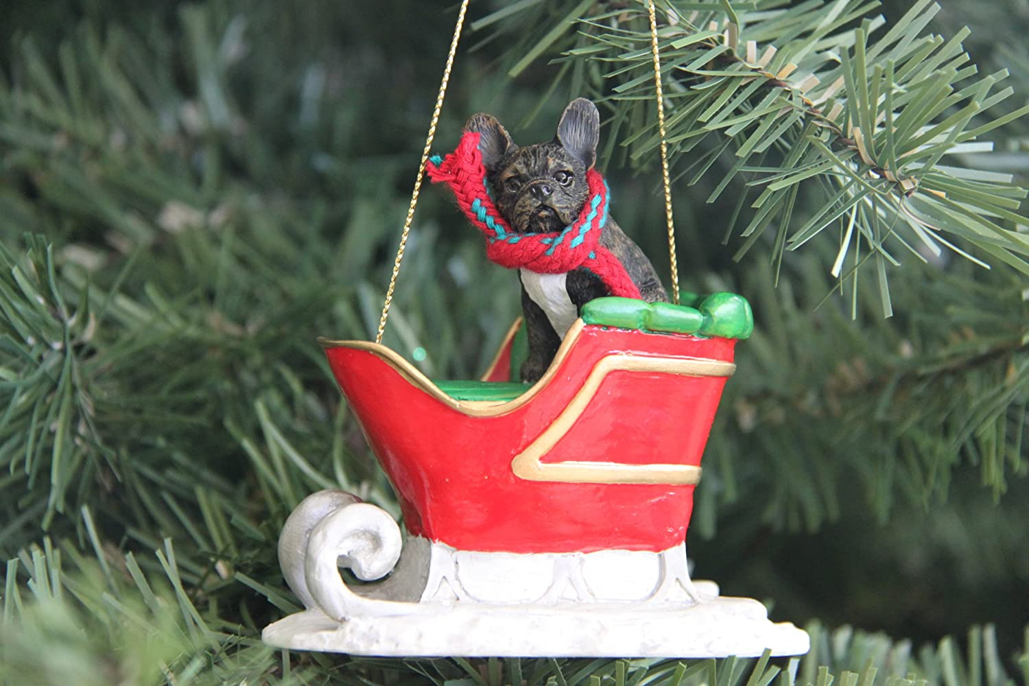Santa's Sleigh French Bulldog Ornament