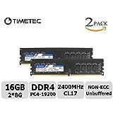 Timetec Hynix IC 16GB Kit(2x8GB) DDR4 2400MHz PC4-19200 Non ECC Unbuffered 1.2V CL16 2Rx8 Dual Rank 288 Pin UDIMM Desktop PC Computer Memory Ram Module Upgrade (16GB Kit (2x8GB))