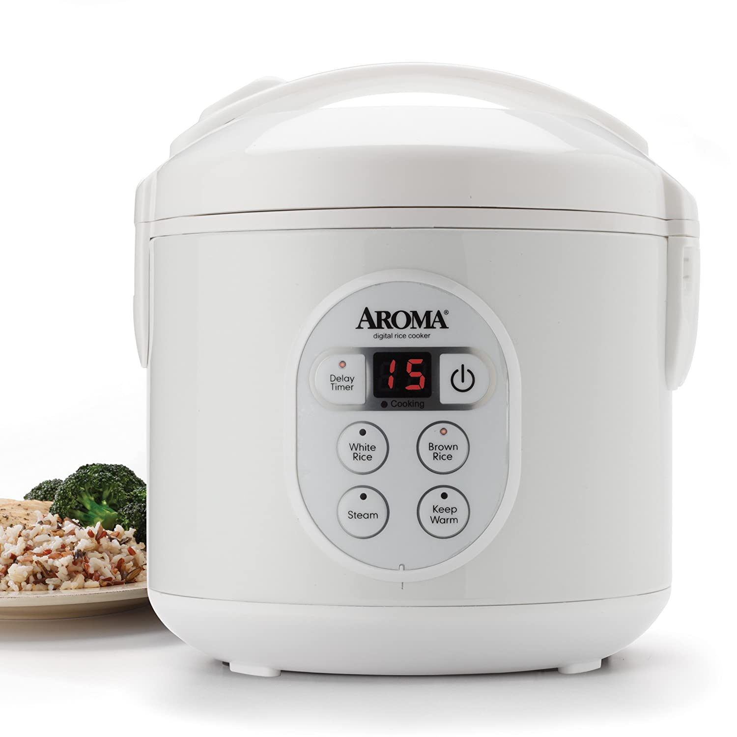 Aroma 8-Cup (Cooked) Digital Rice Cooker and Food Steamer, White
