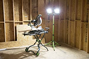 PowerSmith PWL2100TS 10,000 Lumen LED Dual Head Work light with Adjustable Metal Telescoping Stand Green (Color: Green)