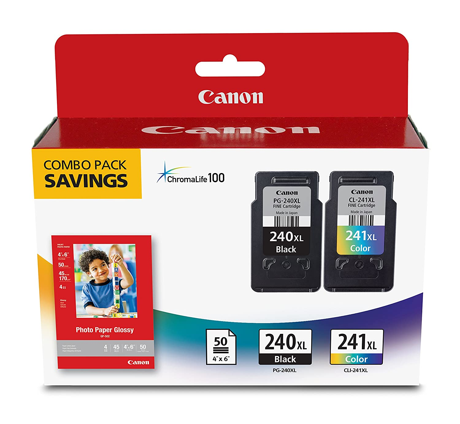 Canon Office Products PG-240XL/CL-241XL with Canon GP502 Glossy Photo Paper - Combo Pack Ink