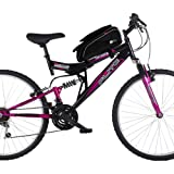 DURAGADGET Shockproof Bicycle Front Frame Saddle Bag with Double Pouch and Smartphone Holder for Flite Women's Taser II Dual Suspension Mountain Bike (Color: Black)