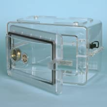 "Bel-Art Scienceware 420751000 Secador Polystyrene Mini Desiccator Cabinet, Clear, 13.3"" Width x 8.5"" Height x 10"" Depth"