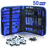 Dualeco Trim Removal Tool Set 50Pcs, Car Trim Puller Tool Kit, Plastic Pry Tools Set for Trim/Panel/Door/Audio, Auto Clip Pliers/Fastener Remover Set, Car Terminal/Stereo Removal Tool (Color: Blue)