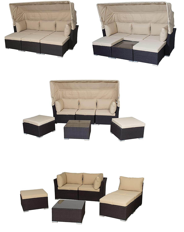 """Poly Rattan Multifunktions – Lounge / Sonneninsel inkl. wasserabweisenden Kissen """"Marino"""" von Siena Garden, UVP 1298.-€ günstig bestellen"""