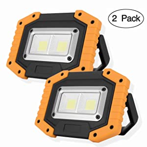 KOKOIN COB 30W 1500LM LED Work Light 2 Pack, Super Bright Rechargeable Portable Waterproof LED Flood Lights Outdoor Camping Emergency Car Repairing Job Site Lighting (Color: W840-y 2pc)