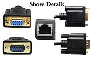 CGTime RJ45 to VGA Cable, VGA 15-Pin Port Female&Male to RJ45 Female Cat5/6 Ethernet LAN Console for Multimedia Video(15CM/6Inch) 2Pack