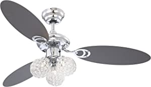 Globo G9 Ceiling Fan with Chrome Blades, White/ Graphite       Customer reviews