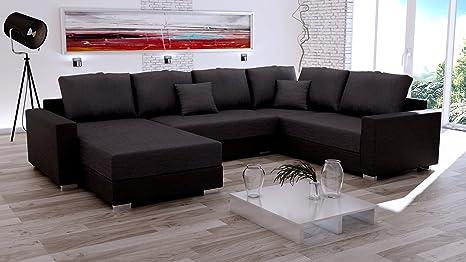 Sofa Couchgarnitur Couch Sofagarnitur STY komplett in Haiti 17 schwarz, U Polstergarnitur Polsterecke Wohnlandschaft mit Schlaffunktion