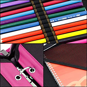 YOUSHARES 180 Slots PU Leather Colored Pencil Case - Large Capacity Carrying Case for Prismacolor Watercolor Pencils, Crayola Colored Pencils, Marco Pens, Gel Pens(Red) (Color: Red)