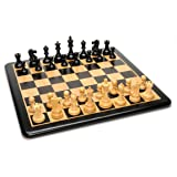 WE Games Grand Jacques Ebony Chess Set - Triple Weighted Pieces with Leather Bottoms & Ebony Wood Board 19 in.