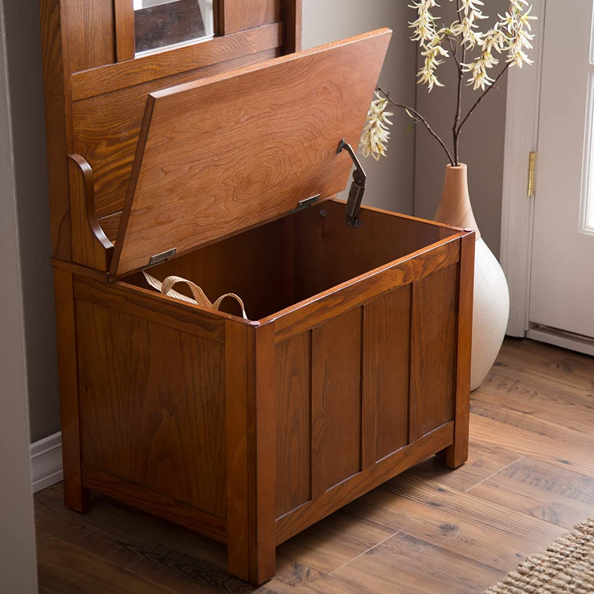 Oak Foyer Bench : Wooden entryway tall hall tree bench coat and hat rack