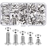Pangda 80 Set Chicago Binding Screws Assorted Kit 5 Sizes Metal Round Cross Head Stud Screw Posts Nail Rivet Chicago Button for DIY Leather Decoration Bookbinding (5 x 6, 10, 12, 15, 18) (Color: Silver, Tamaño: 5 x 6, 10, 12, 15, 18)