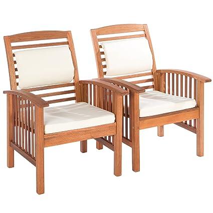 Ultranatura Lot de 2 chaises lounge, gamme Canberra - Élégant bois d'eucalyptus de qualité supérieure certifié FSC