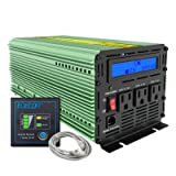 EDECOA Power Inverter 2000 Watts 12V DC to 110V 2000W AC with LCD Display and Remote Controller (Color: Green, Tamaño: Green)