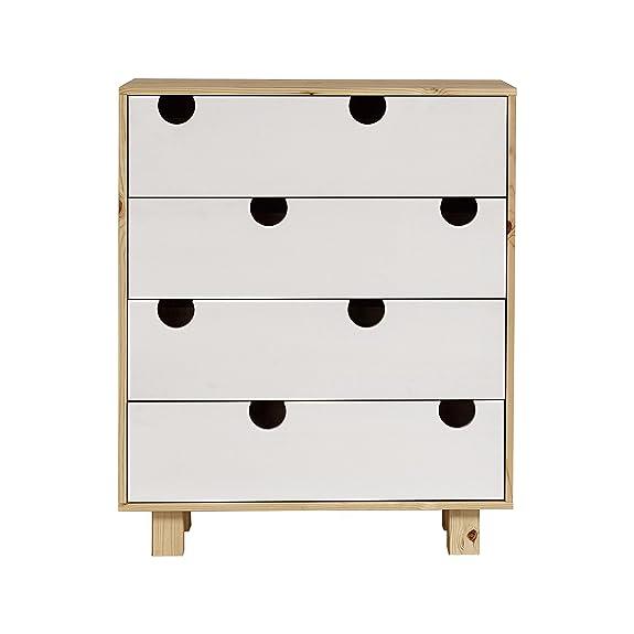 Karup House 4-Drawer Spazio di Archiviazione, Legno, Naturale/Bianco, 75 x 40 x 90 cm