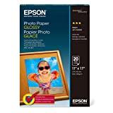 Epson S041156 Glossy Photo Paper, 52 lbs., Glossy, 11 x 17 (Pack of 20 Sheets) (Color: White, Tamaño: 11 x 17)