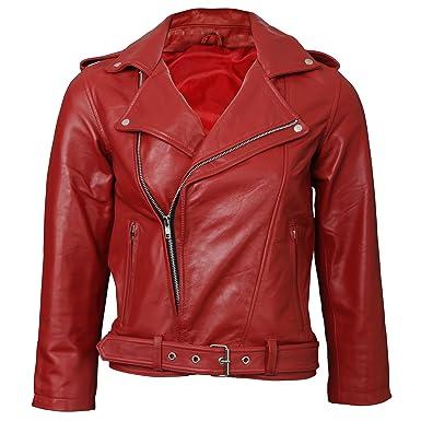 Rouge Fashion doux en cuir de vachette vieilli Veste pour homme Taille :  XL)