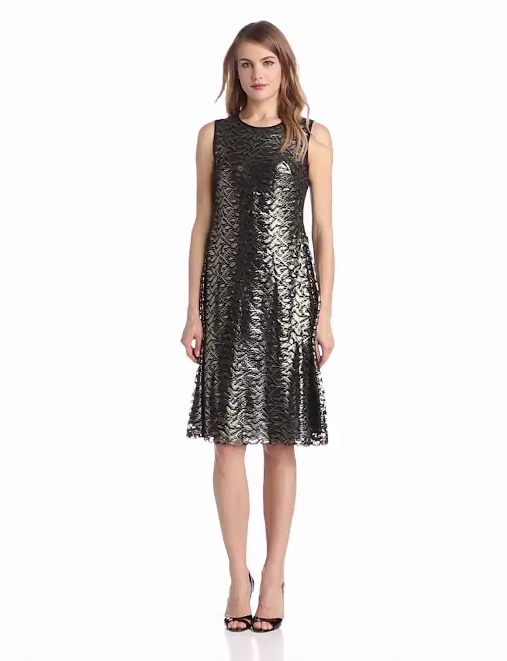 Anne Klein Womens Lacquered Lace Dress