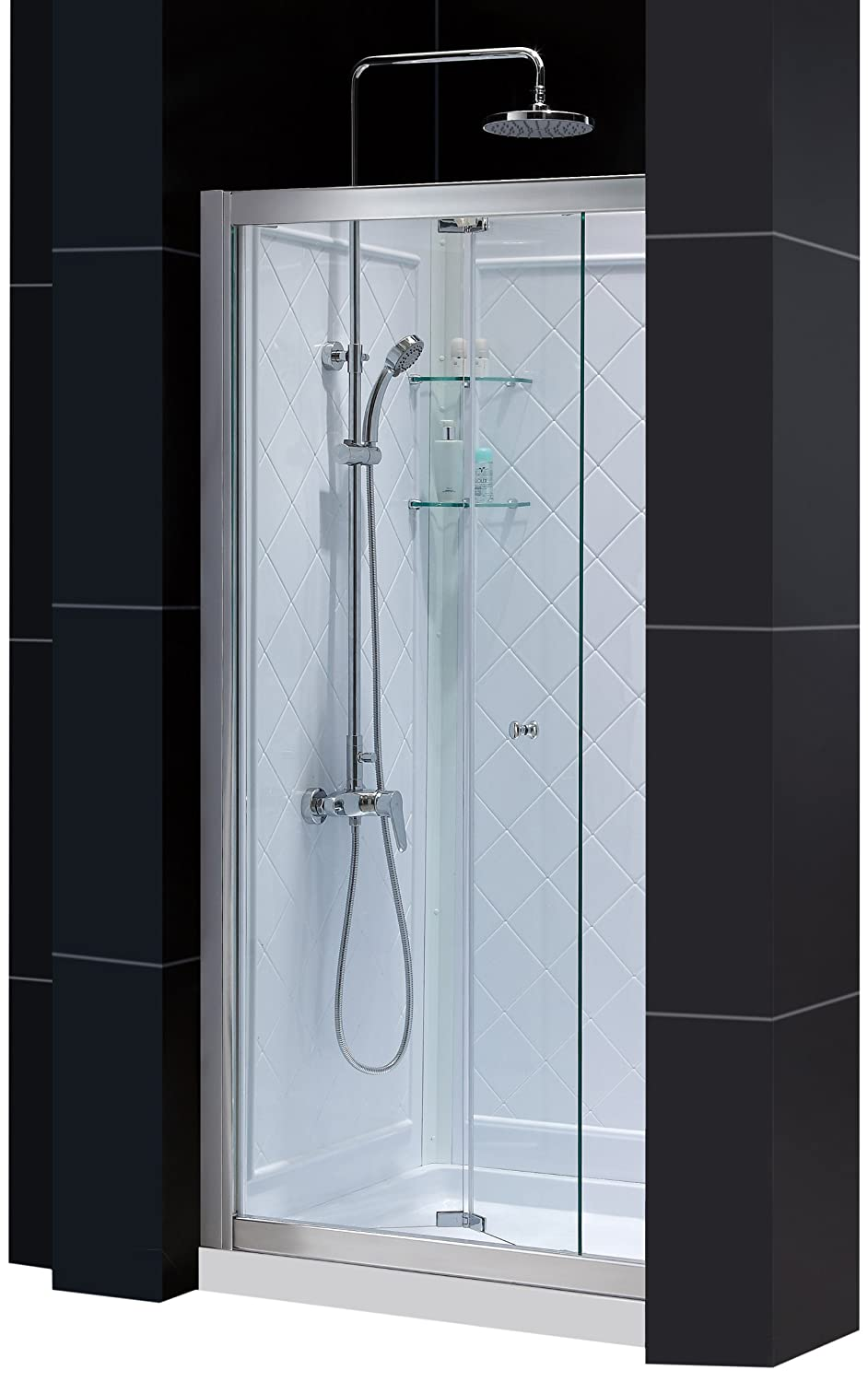 DreamLine DL-6129C-01CL Butterfly Frameless Bi-Fold Shower Door, 32-Inch by 32-Inch Single Threshold Shower Base and QWALL-5 Shower Back Walls Kit