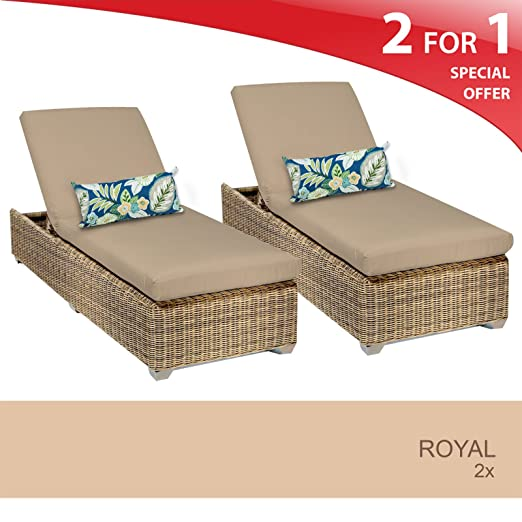 Royal Chaise Set of 2 - Outdoor Wicker Patio Furniture - Wheat