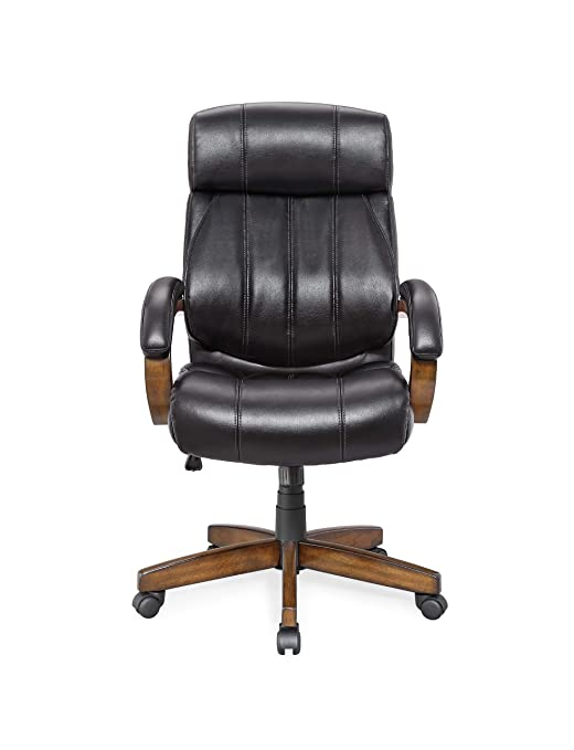 Whalen Furniture WC-594 Breckenridge Wood and Leather Executive Adjustable Lumbar Chair