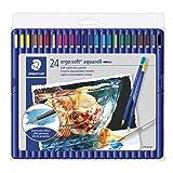 Staedtler 156SB24CB 156SB24C Ergo Aquarell Soft Watercolor Pencils 24/Pkg, Set of 24, Assorted Colors (Color: Assorted Colors, Tamaño: Set of 24)