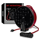 30Ft Retractable Extension Cord Reel with 3 Electrical Power Outlets - 16/3 Durable Crimson Cable - Perfect for Hanging from Your Garage Ceiling (Color: 16/3 Gauge, 30ft Length - Crimson & Black)