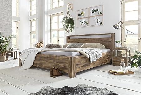 Woodkings® Holz Bett 180x200 Havelock Doppelbett Akazie rustic Schlafzimmer Massivholz Design Ehebett Balkenbett massive Naturmöbel Echtholzmöbel gunstig