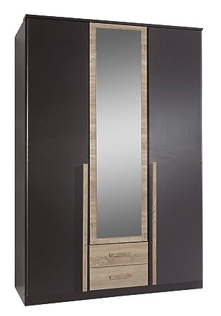 Wimex 117484 Drehturenkleiderschrank 198 x 135 x 58 cm, Absetzung Eiche-sägerau-Nachbildung, Front und Korpus lavafarbig