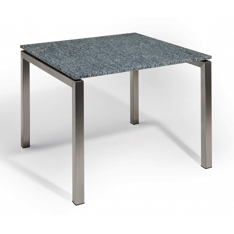 Studio 20 Bergamo Gartentisch 90 x 90 x 75 cm Outdoortisch Granittisch Edelstahl Tischplatte Pearl grey geschliffen