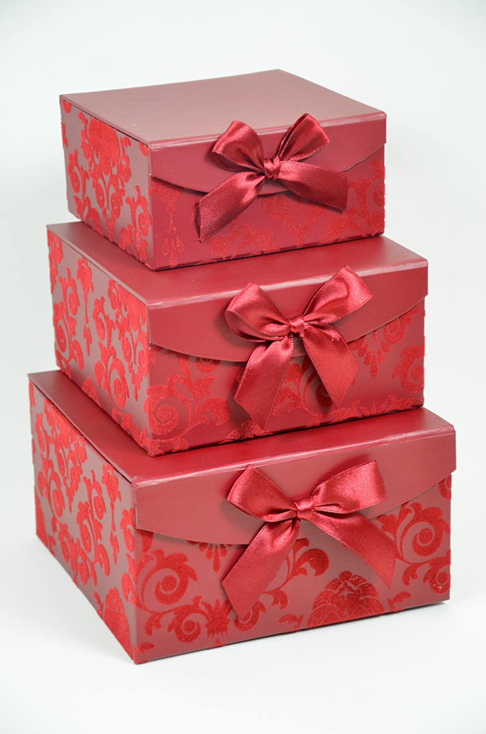 Red Swirl Nesting Magnetic Boxes - Set of 3