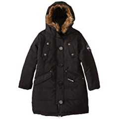 Big Chill Girls Long Expedition Coat with Faux-Fur Trimmed Hood