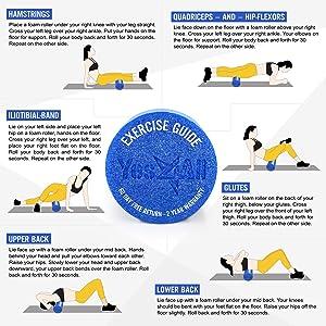 12//18//24 Inch High-Density Round Foam Roller Black For Yoga Exercise Massage UI