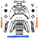 YB-OSANA Chrome Silver Controller Full Housing Shell Set Faceplates Buttons for Xbox One Controller with 3.5 mm Headset Jack Xbox one controller Shell kit with 3.5 port Xbox One Full Button Set