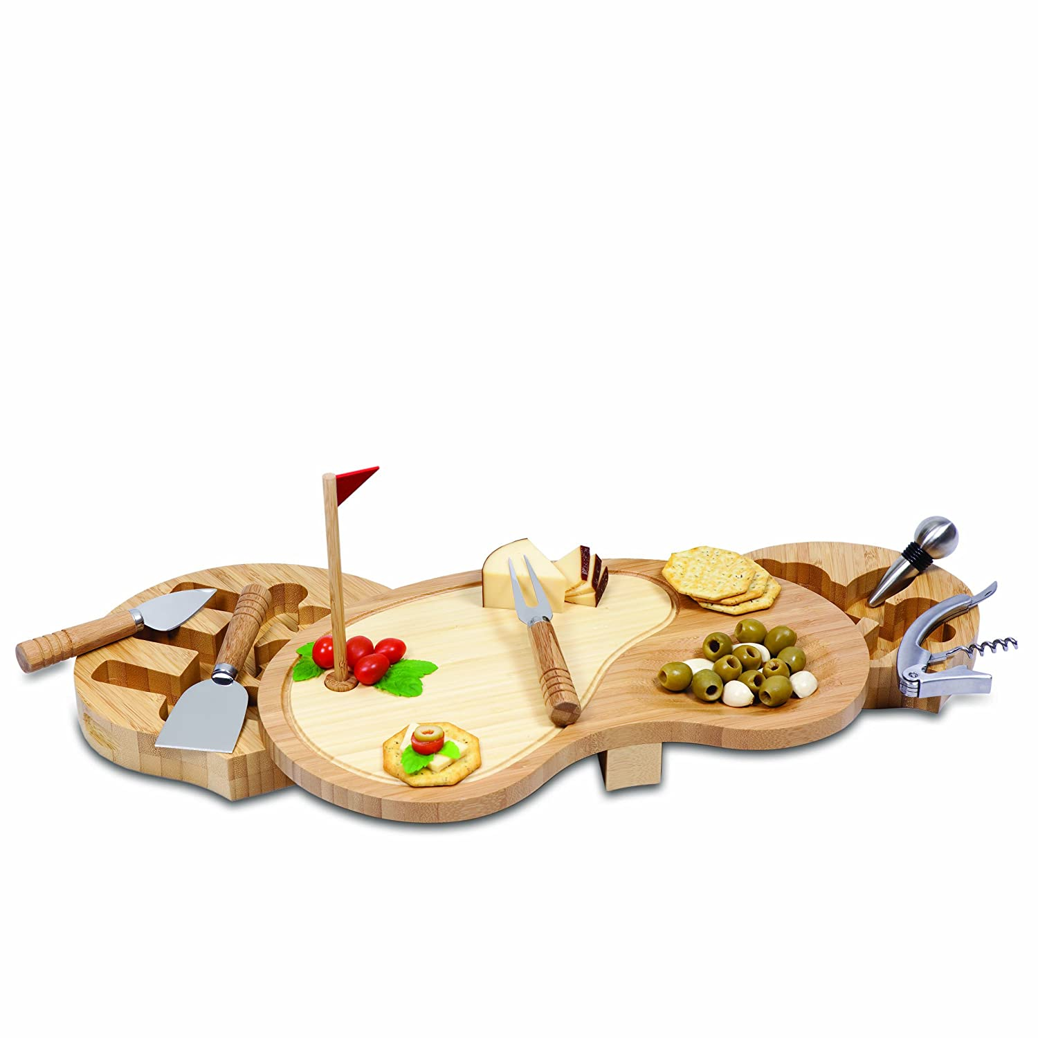 TOSCANA - a Picnic Time Brand Sand Trap Cheese Board and Tool Set