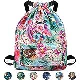 WANDF Drawstring Backpack String Bag Sackpack Cinch Water Resistant Nylon for Gym Shopping Sport Yoga (Green Flower 6032) (Color: B-Green Flower 6032, Tamaño: Medium)