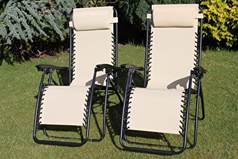 PACK DE 2 sillones tumbonas reclinables de jardín en textileno impermeable de color beige claro con reposacabezas ajustable y múltiples posiciones.