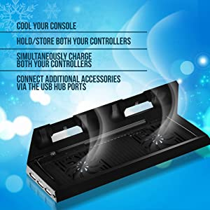 Ortz PS4 Vertical Stand with Cooling Fan [HIGHEST RATED] Controller Charging Station with Dual Charger (Color: Black)