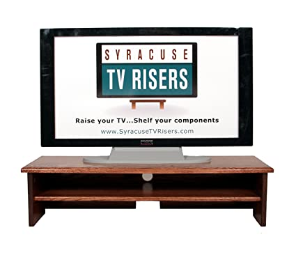"X-Large Triple Tier TV Riser 36x14x8 3/4""high Red Oak Stained Solid Hardwood"