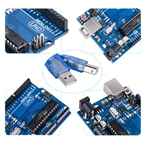 Andplay UNO R3 Board Compatible with Arduino IDE Projects,RoHS Compliant,ATMEGA16U2,with USB Cable