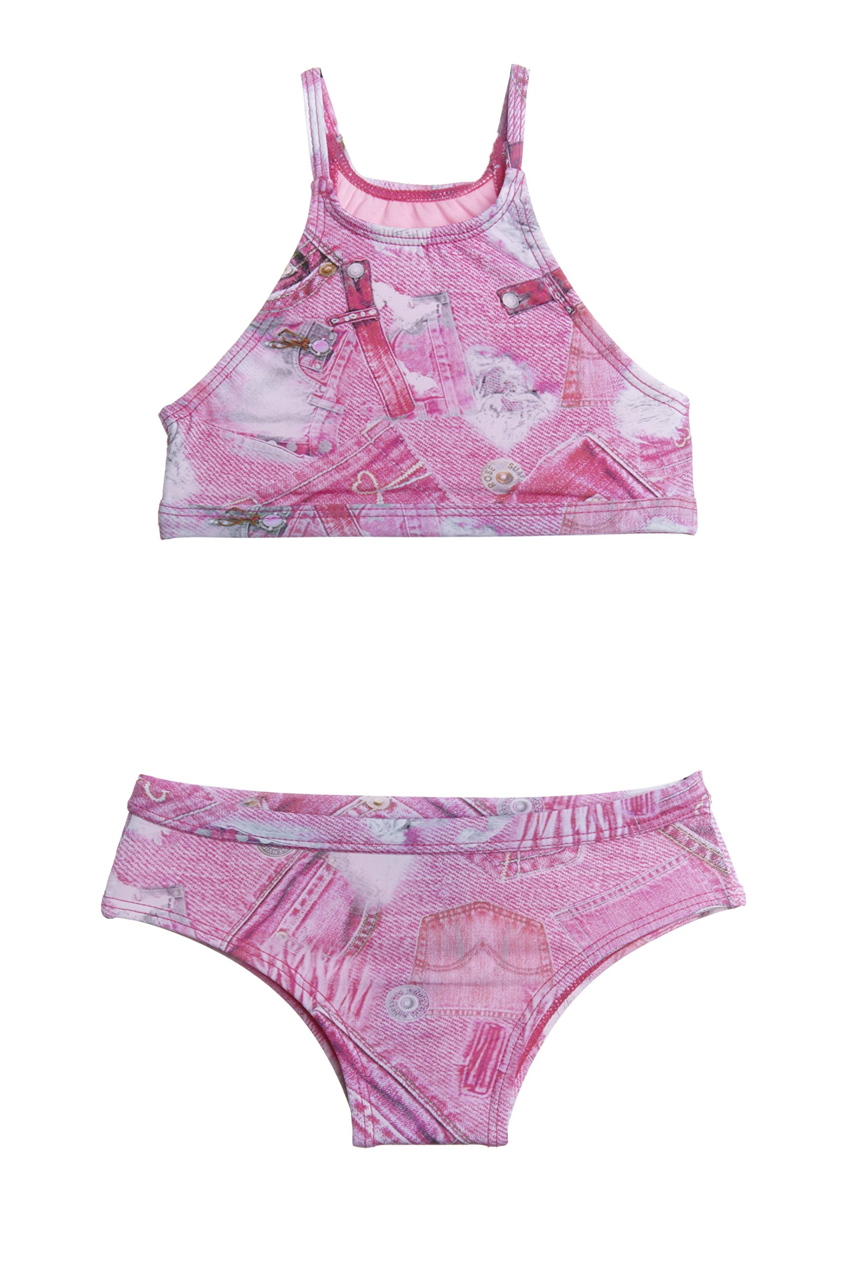 Denim Two Piece Pink Girls Swimsuit