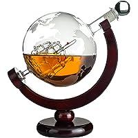 Eravino World Globe Decanter For Scotch, Bourbon, Rum, Liquor, and Wine with Antique Glass