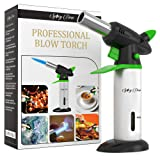 Blow Torch - Creme Brulee Torch - Refillable Professional Kitchen Torch with Safety Lock and Adjustable Flame - Culinary Torch - Micro Butane Torch with Fuel Gauge - Cooking Torch - Food Torch (Color: Silver, Black, Green)