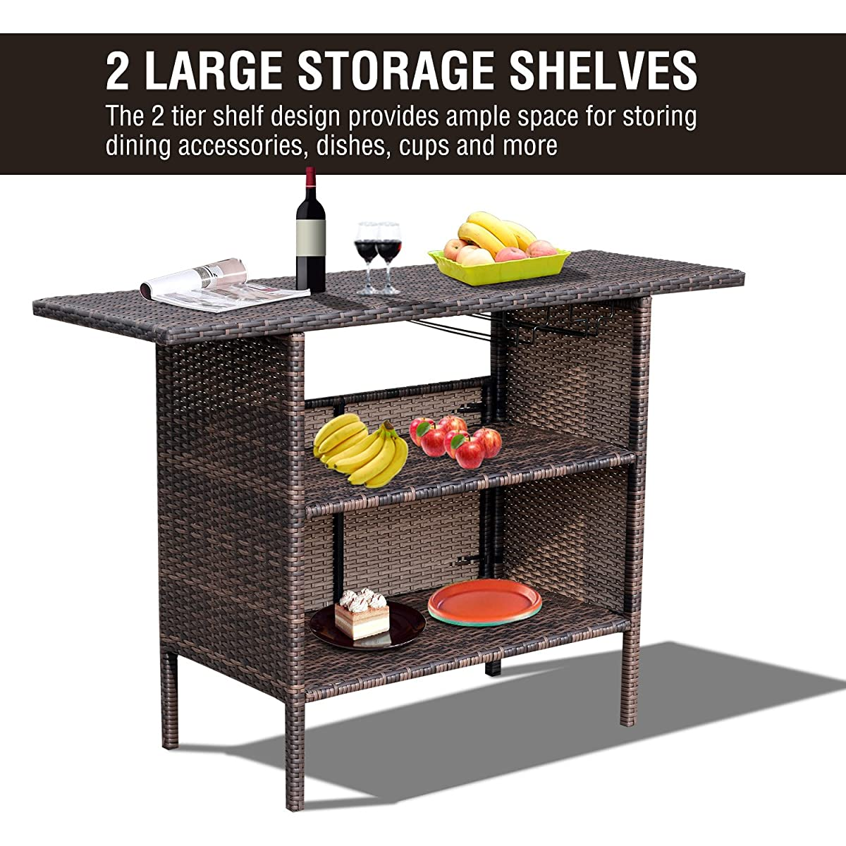 Outsunny PE Wicker Rattan Patio Bar Counter Table Serving Station With Storage Shelves